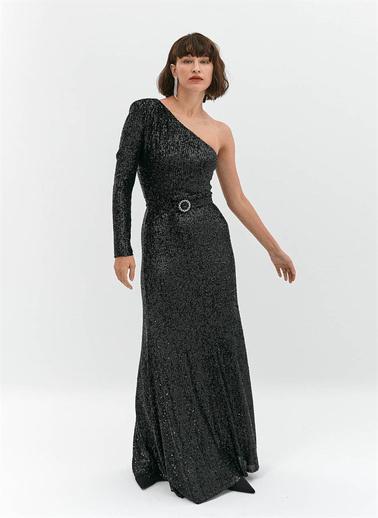 Rue Payetli Tek Omuz Elbise Siyah